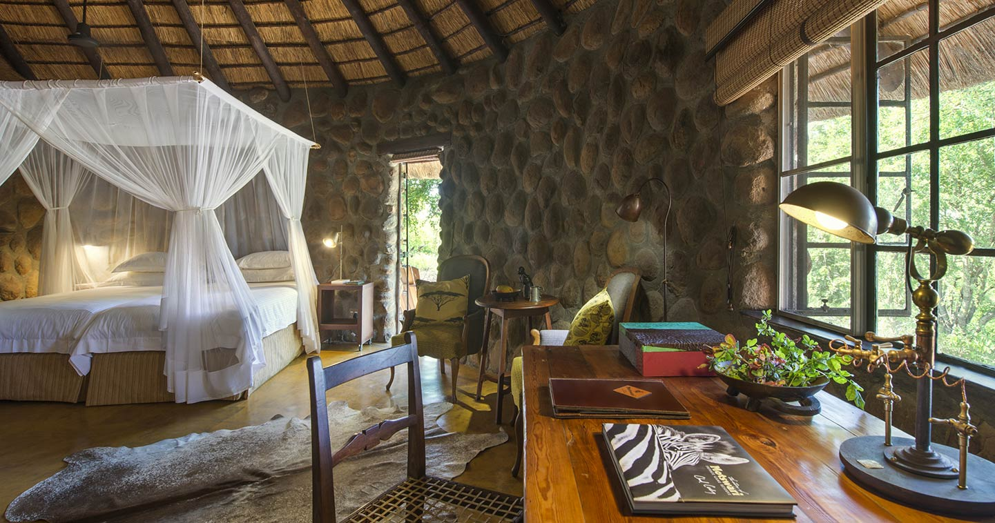 Enjoy the luxury bedroom at Geigers Camp in Timbavati Game Reserve