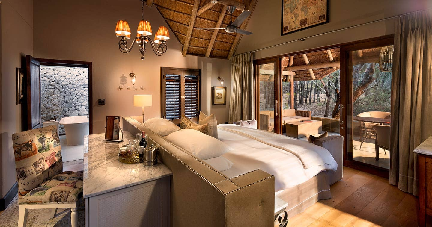 Luxury bedroom at Ngala Safari Lodge in Kruger National Park