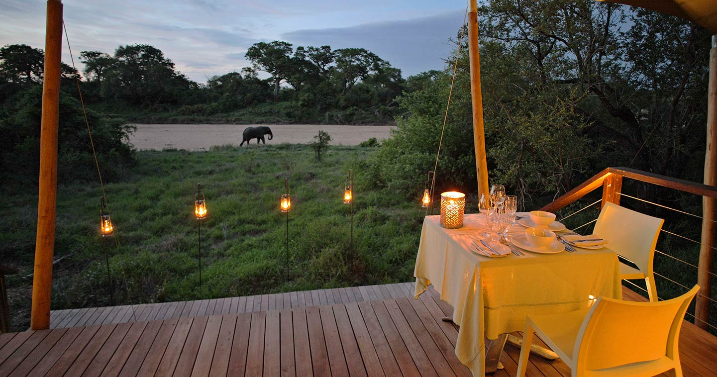 Dining at Ngala Tented Camp in the Timbavati
