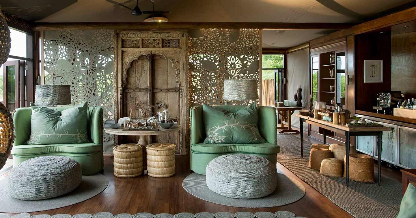 The lounge at Ngala Tented Camp in Kruger National Park South Africa